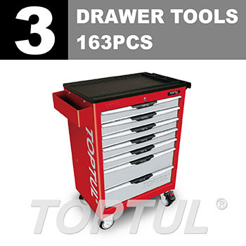 W/7-Drawer Tool Trolley - 163PCS Mechanical Tool Set (PRO-LINE SERIES) RED