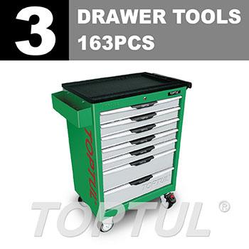 W/7-Drawer Tool Trolley - 163PCS Mechanical Tool Set