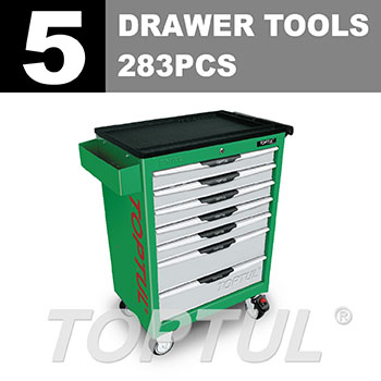 W/7-Drawer Tool Trolley - 283PCS Mechanical Tool Set