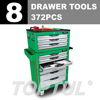 W/3 Drawer Tool Chest + W/7 Drawer Tool Trolley - 372PCS Mechanical Tool Set