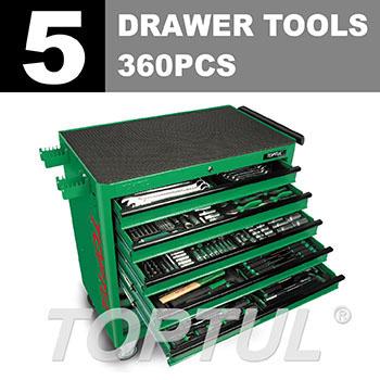 360PCS W/8-Drawer Jumbo Tool Trolley