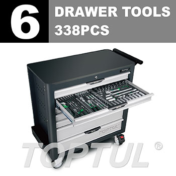 W/7-Drawer Tool Trolley - 338PCS Mechanical Tool Set