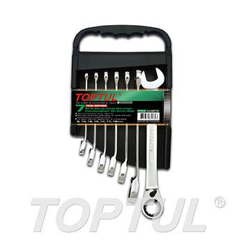 7PCS Pro-Series Reversible Ratchet Combination Wrench Set - STORAGE RACK