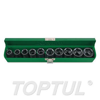 "10PCS 1/2"" DR. 6PT Flank Impact Socket Set (SAE)"