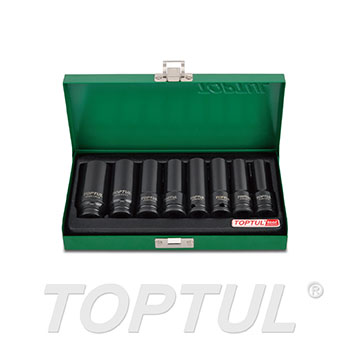 "8PCS 3/8"" DR. 6PT Flank Deep Impact Socket Set"