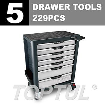 W/7-Drawer Tool Trolley - 229PCS Mechanical Tool Set (PRO-PLUS SERIES) GRAY