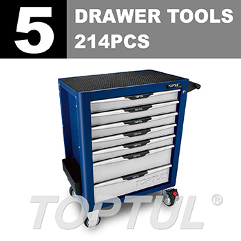 W/7-Drawer Tool Trolley - 214PCS Mechanical Tool Set (PRO-PLUS SERIES) BLUE