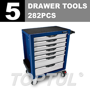 W/7-Drawer Tool Trolley - 282PCS Mechanical Tool Set (PRO-PLUS SERIES) BLUE