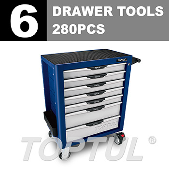 W/7-Drawer Tool Trolley - 280PCS Mechanical Tool Set (PRO-PLUS SERIES) BLUE