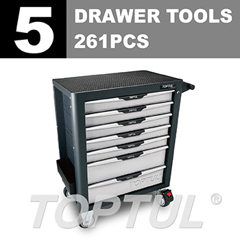 W/7-Drawer Tool Trolley - 261PCS Mechanical Tool Set (PRO-PLUS SERIES) GRAY