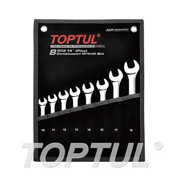 8PCS 15° Offset Standard Combination Wrench Set - POUCH BAG - BLACK