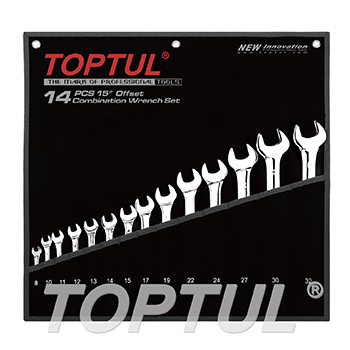 14PCS 15° Offset Standard Combination Wrench Set - POUCH BAG - BLACK