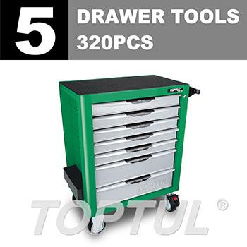W/7-Drawer Tool Trolley -320PCS Mechanical Tool Set (PRO-PLUS SERIES) GREEN - Flat Finished