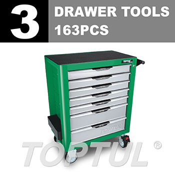 W/7-Drawer Tool Trolley - 163PCS Mechanical Tool Set (PRO-PLUS SERIES) GREEN - Flat Finished
