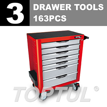 W/7-Drawer Tool Trolley - 163PCS Mechanical Tool Set (PRO-PLUS SERIES) RED - Flat Finished