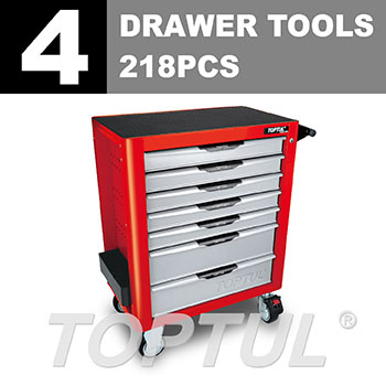 W/7-Drawer Tool Trolley - 218PCS Mechanical Tool Set (PRO-PLUS SERIES) RED - Flat Finished