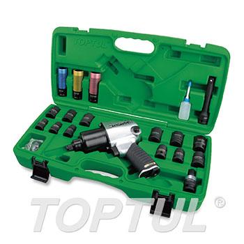 "27PCS 1/2"" DR. Air Impact Wrench Set (Standard Anvil / Max. Torque 600 Ft-Lb)"