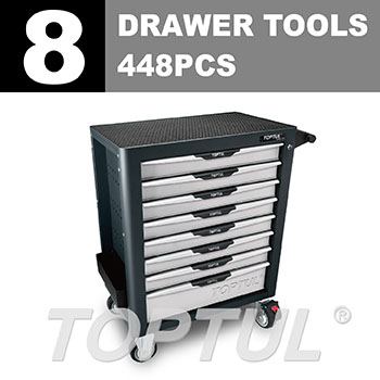 W/8-Drawer Tool Trolley - 448PCS  Mechanical Tool Set