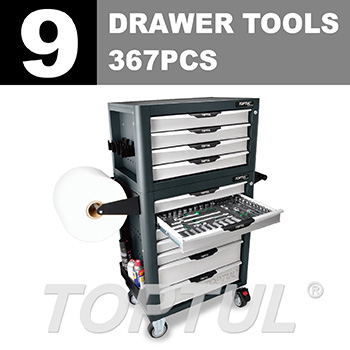 W/4 Drawer Tool Chest + W/7 Drawer Tool Trolley (PRO-PLUS SERIES) GRAY