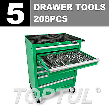 W/7-Drawer Tool Trolley - 208PCS Mechanical Tool Set (ECONOMIC SERIES) GREEN - Flat Finished