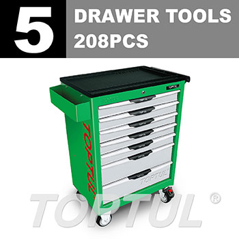 W/7-Drawer Tool Trolley - 208PCS Mechanical Tool Set (PRO-LINE SERIES) GREEN - Flat Finished