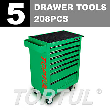 W/7-Drawer Tool Trolley - 208PCS Mechanical Tool Set (GENERAL SERIES) GREEN - Flat Finished
