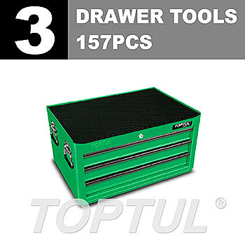 W/3-Drawer Tool Chest - 157PCS Mechanical Tool Set (GENERAL SERIES) GREEN