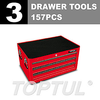 W/3-Drawer Tool Chest - 157PCS Mechanical Tool Set (GENERAL SERIES) RED