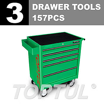 W/5-Drawer Tool Trolley - 157PCS Mechanical Tool Set (GENERAL SERIES) GREEN