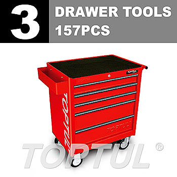 W/5-Drawer Tool Trolley - 157PCS Mechanical Tool Set (GENERAL SERIES) RED