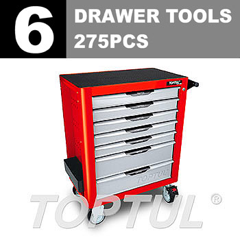 W/7-Drawer Tool Trolley - 275PCS Mechanical Tool Set (PRO-PLUS SERIES) RED - Flat Finished