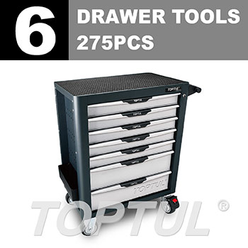 W/7-Drawer Tool Trolley - 275PCS Mechanical Tool Set (PRO-PLUS SERIES) GRAY