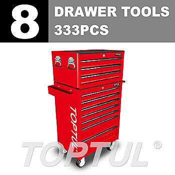 W/3-Drawer Tool Chest + W/7-Drawer Tool Trolley (GENERAL SERIES) RED