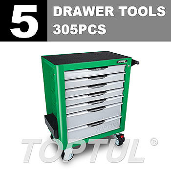 W/7-Drawer Tool Trolley - 305PCS Mechanical Tool Set (PRO-PLUS SERIES) GREEN - Flat Finished