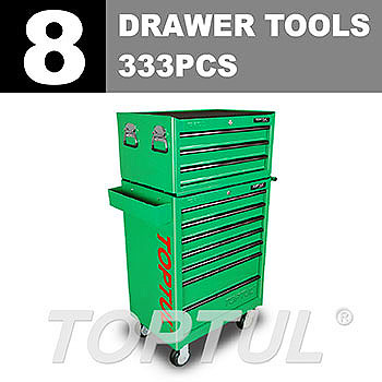 W/3-Drawer Tool Chest + W/7-Drawer Tool Trolley (GENERAL SERIES) GREEN