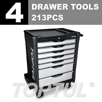W/7-Drawer Tool Trolley - 213PCS Mechanical Tool Set (BUMPER SERIES) BLACK